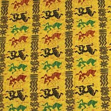 Fabric Native American Kokopelli on Yellow Wax Cotton 1/4 Yard