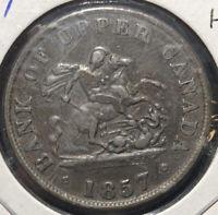 1857 Bank of Upper Canada 1/2 Half Penny Bank Token Canadian Coin High Grade!
