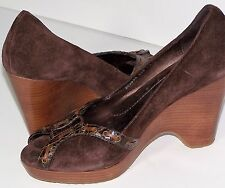 Cole Haan  Brown Suede Wedge Heels Leather Laced Open Toe Shoes  Size 7.5 B