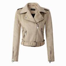 Women Suede Faux Leather Short Jackets Lady  Motorcycle Coat Biker Outerwear Hot