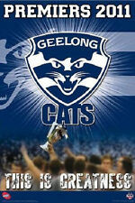 AFL Geelong Premiers 2011 POSTER 60x90cm This Is Greatness Cats Logo NEW footy