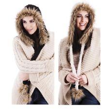 Ladies Women Knitted Faux Fur Peruvian Long Tassels Winter Warm Soft Trapper Hat