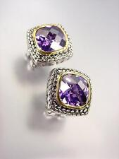 EXQUISITE Balinese Silver Wheat Cable Purple Amethyst CZ Crystal Square Earrings