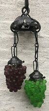"Vintage Czech Glass Grape Iron Link Chain Fixture 2 Cluster Green Purple 36"""