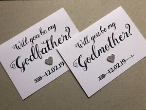 Personalised Will you be my Godmother/Godfather/Godparents Linen Card + Envelope