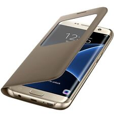Original Samsung S-View Cover Schutz Hülle EF-CG935 für Galaxy S7 Edge Gold