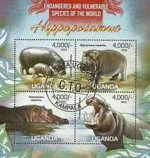 Timbres Animaux Hippopotames Ouganda 2506/9 o année 2013 lot 14826 - cote : 19 €