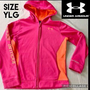 Under Armour Girls Hoodie Full Zip Neon Orange Pink Storm Fleece Sweatshirt YLG