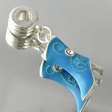 Pretty White GF/Silver Womens Blue Enamel Shoes CZ Charm fit all D3124