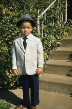New listing 1958 Slide Young Boy Posed in Easter Clothes Sports Coat Slacks Hat Red Border
