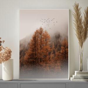 Autumn Winter Tree Fog Bird Print Poster Painting Wall Art Christmas Gift A4- A1