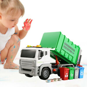 13 Zoll Müllwagen Spielzeug mit 4 Dosen LKW Fahrzeuge für Kinder 3 4 5 Jahre