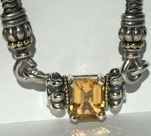 Lagos Glacier Pendant Necklace Featuring Amber Citrine,18K Yellow Gold & 925 SS