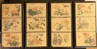 12 (4 sets of 3) Antique Asian Chinese Hand Painted Porcelain Tiles with Flowers