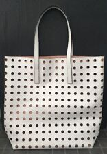Estee Lauder White Perforated Beach Tote Hand Shoulder Bag Purse - Large
