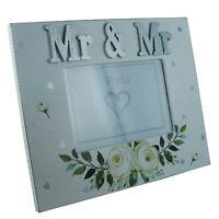 "Mr & Mr Photo Frame Wedding Present Venue Decor Anniversary Gift Floral 4x6"""