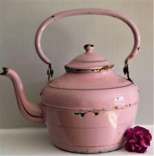 Vintage Rare Pink French Enamel Tea Pot