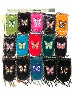 NEW Lot of 15 Velvet Beaded Embroidered Bag Pouch Strap Phone Glasses Cards