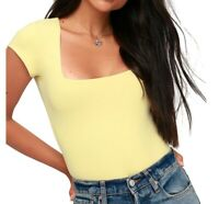 Free People Womens Top Banana Yellow Size Large L Square-Neck Bodysuit $58- 494