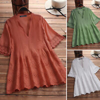 Women Cotton Vintage Eyelets Blouse Lace Crochet Loose Tee Shirt Top T-Shirt NEW