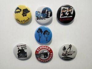 7 X Blues Brothers buttons (pins, badges, 25mm, elwood, vinyl, best of, movie)