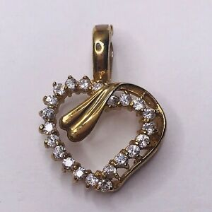 Heart Pendant Yellow Gold Tone Rhinestone Snap Open Bezel Charm