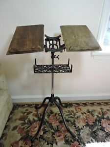Antique Josiah Anstice 1895 Cast Iron Wood Book Dictionary Stand Adjustable