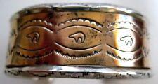 Vintage Navajo Stamped Cuff Bracelet Sterling Silver Brass Signed