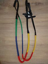MULTI COLOURED RUBBER GRIP TRAINING REINS BLACK LEATHER PONY or FULL