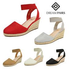 DREAM PAIRS Women Espadrilles Wedge Sandals Elastic Ankle Strap Close Toe Shoes