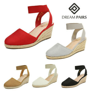 DREAM PAIRS Women Espadrilles Wedge Sandals Elastic Ankle Strap Close Toe Shoes