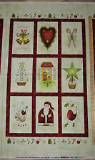 """All Things Christmas Santa Reindeer Primative Red Rooster Fabric Pnl 23"""" #26557"""