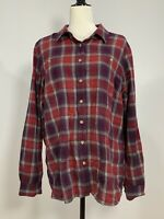 Women's DULUTH TRADING CO Size Large Flannel Shirt Purple Plaid
