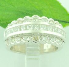 14k White Gold 2.50 ct Princess  Cut ladies Natural Diamond Ring  made in USA