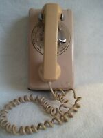 Vintage Rotary Dial Telephone Western Electric Tan Wall Phone WORKING!