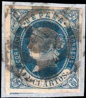 ESPAGNE / SPAIN - 1862 - Ed.59/Mi.51 12cu. blue/rose - Very Fine Used on piece
