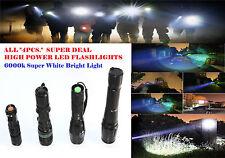 4PCS - Zoomable XML-T6 3000Lumen Ultra 6000k LED Flashlight Focus Torch Lamp