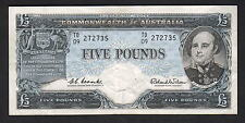 New listing R-50L. (1960) 5 Pounds . Coombs/Wilson - Reserve Bank. Last Prefix Td/09. aEf