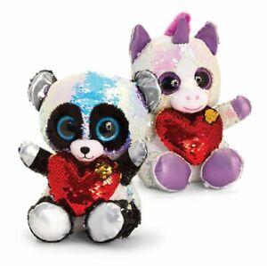 Luv Soft Toy Stuffed Glitter Motsu Panda Unicorn with Heart 2 Sizes Mother's Day