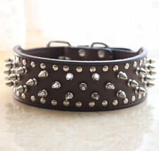 "2"" Wide Leather Spiked Studded Dog Collar Pitbull Bully Terrier Size S M L XL"