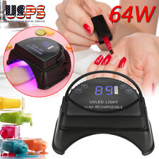 Pro 64W LED UV Nail Light Lamp Gel Polish Nail Dryer Wireless Rechargeable USA