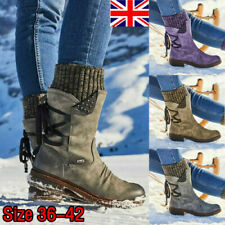 WOMENS LADIES WINTER MID CALF LACE UP KNITTED LOW FLAT HEEL SHOES BOOTS SIZE UK
