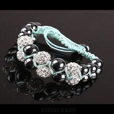 Bracelet 2 RANGS de GRISAS et CHAMBAS sur CORDON VERT D'EAU