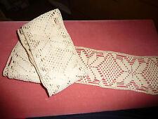 #Tr52 vtg crochet wide trim edging 1 1/2 yards x 3' wide Unused remnant
