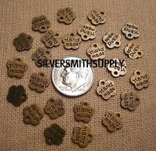"""Jewelry tags """"handmade"""" 9mm ant bronze plated signature tags cfp025  25 pc lot"""