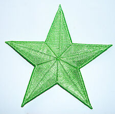 Lime Light GREEN 3 inch iron on star patch applique kid embellishment - 142