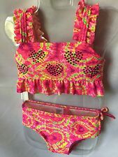J. Khaki Tie Dye Print With Sequins And Ruffles 2 Piece Swimsuit Size 2T-New
