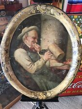 Original Antique Tin Litho Stock Tray Beer Hops Stein Beach Coshocton Ohio