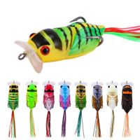 8x Topwater Soft Fishing Lures Whopper Popper Cicada Insect Crankbait Bass Trout