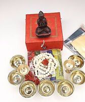 Set of 8 Buddhist Ritual Items In a Box Essential for Prayer & Meditation
